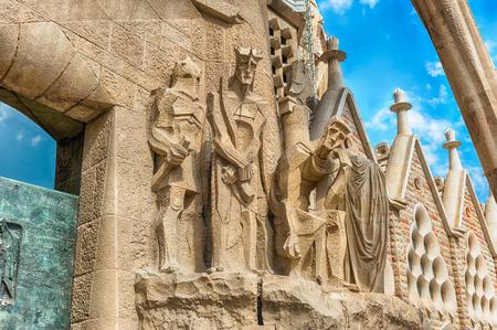 Foto de BARCELONA - AUGUST 9: Detail of the Passion Facade of the Sagrada Familia, the most iconic landmark designed by Antoni Gaudi in Barcelona, Catalonia, Spain, as seen on August 9, 2017 - Imagen libre de derechos