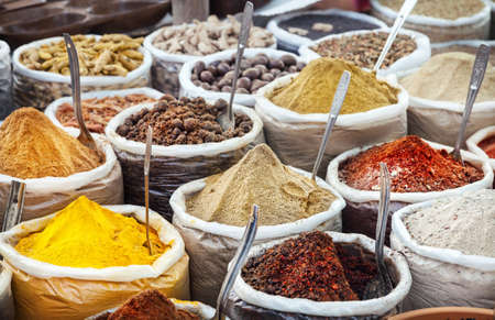 Photo for Indian colorful spices and tea at Anjuna flea market in Goa, India - Royalty Free Image