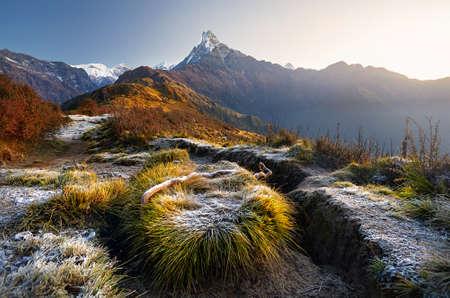 Photo pour Beautiful landscape of Himalaya Mountain Fishtail Machapuchare at Mardi Himal treck, Nepal - image libre de droit
