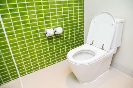 Foto de Clean, white toilet and paper rolls with Lime green mosaic tiles wall - Imagen libre de derechos