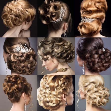Photo pour Collection of wedding hairstyles. Beautiful girls. Beauty hair. Photo taken in the studio. - image libre de droit