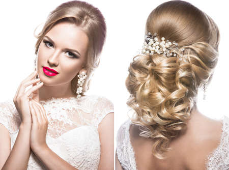 Foto de Beautiful blond woman in image of the bride with flowers. Beauty face and Hairstyle. Picture taken in the studio - Imagen libre de derechos
