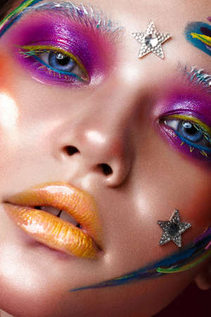 Photo pour Beautiful girl with creative make-up in pop art style. Beauty face. Photo taken in studio - image libre de droit