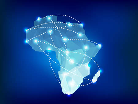 Illustration for Africa map polygonal with spot lights places - Royalty Free Image