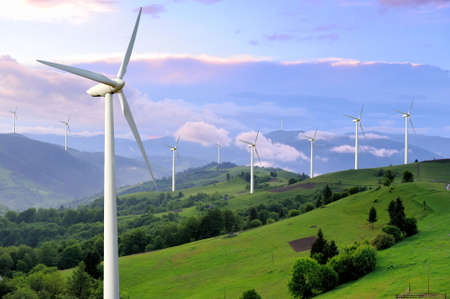 Photo pour Eco power. Wind turbines generating electricity - image libre de droit