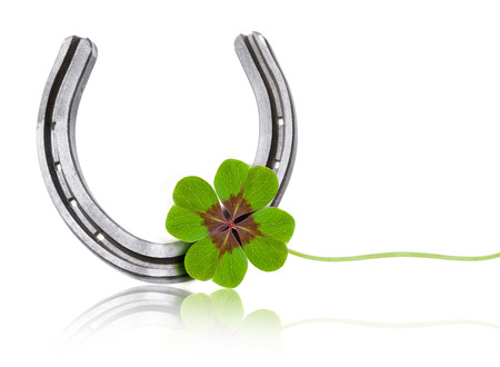 Photo for Clover Leaf with Horseshoe - Royalty Free Image