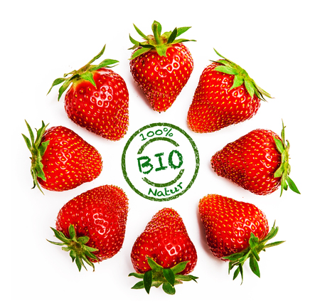 Photo for Organic strawberries Isolated - Royalty Free Image