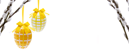 Photo for Easter eggs with palm catkin - Royalty Free Image
