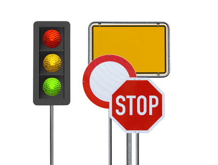 Photo for Traffic signs on White Background - Royalty Free Image