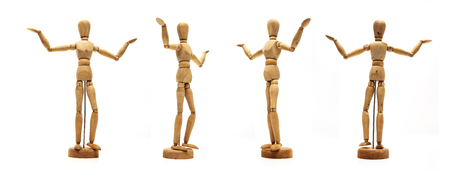 Photo for Retro Wooden Dolls Isolated - Royalty Free Image