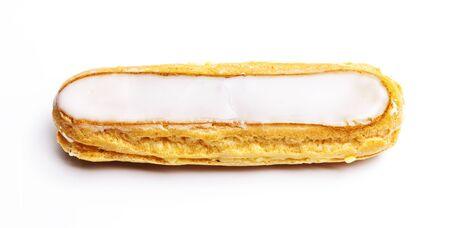 Photo for White French long cake  isolated on white background - Royalty Free Image