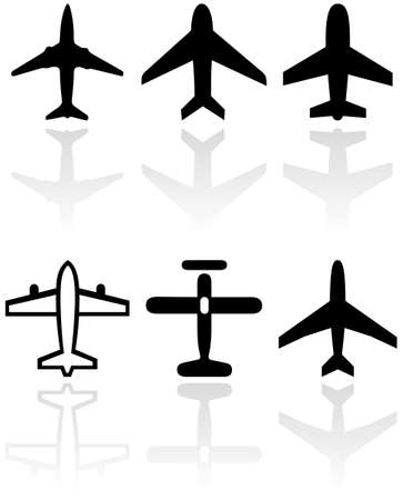 set of different airplane symbols.