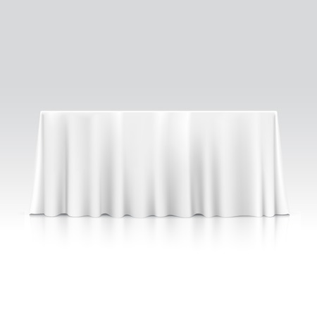 Illustration pour Vector Empty Rectangular Table with Tablecloth Isolated on White Background - image libre de droit