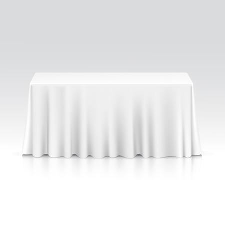 Ilustración de Vector Empty Rectangular Table with Tablecloth Isolated on White Background - Imagen libre de derechos