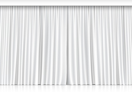 Illustration pour Vector White Curtains Isolated on White Background - image libre de droit