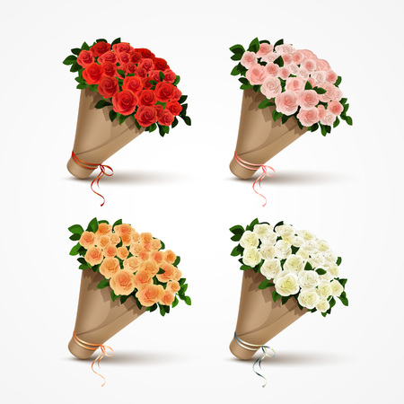 Illustration for Set Bouquets of Roses Isolated - Royalty Free Image