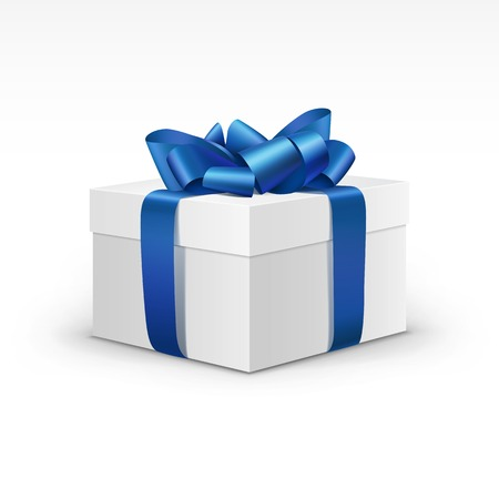 Illustration pour White Gift Box with Blue Ribbon Isolated - image libre de droit