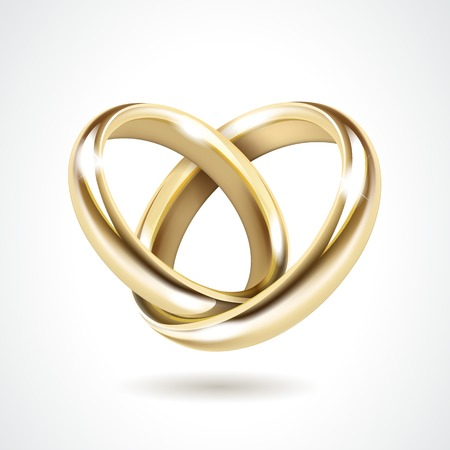 Illustration for Vector Gold Wedding Rings Isolated - Royalty Free Image