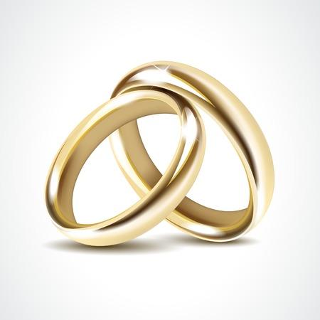 Photo pour Vector Gold Wedding Rings Isolated - image libre de droit