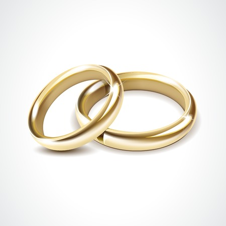 Foto de Vector Gold Wedding Rings Isolated - Imagen libre de derechos