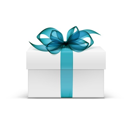 Illustration pour White Square Gift Box with Light Blue Ribbon - image libre de droit