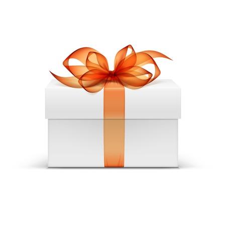 Illustration pour White Square Gift Box with Orange Ribbon and Bow - image libre de droit