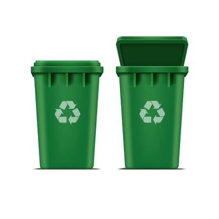 Ilustración de Vector Green Recycle Bin for Trash and Garbage - Imagen libre de derechos