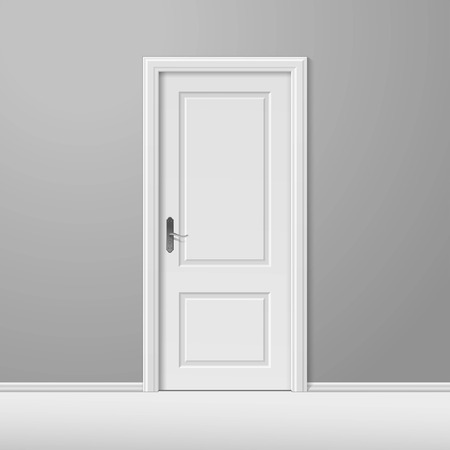 Illustration pour White Closed Door with Frame - image libre de droit