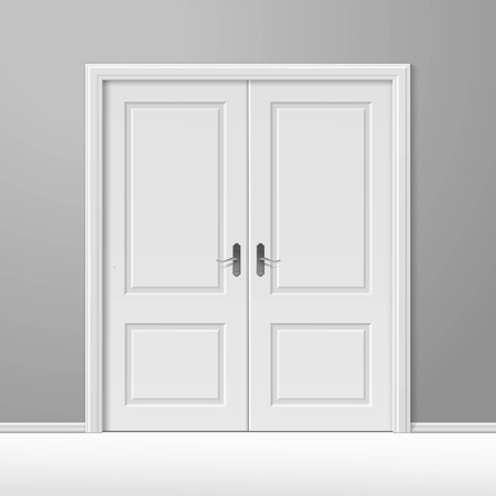 Illustration for White Closed Door with Frame - Royalty Free Image