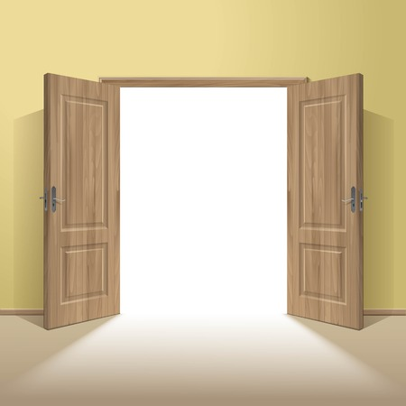 Illustration for Vector Wood Open Door with Frame Isolated - Royalty Free Image