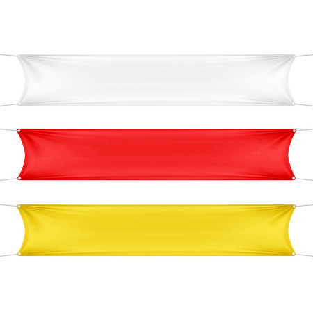 Illustration pour White, Red and Yellow Blank Empty Banners - image libre de droit