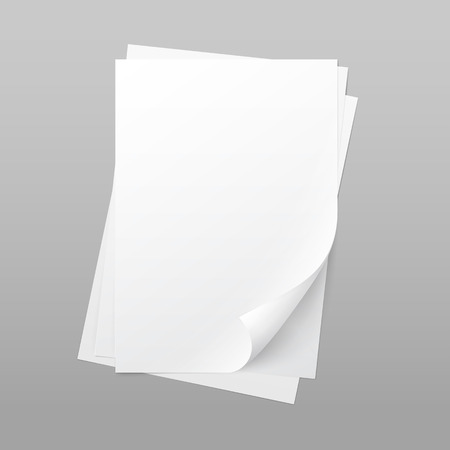 Illustration for White Blank Paper Page Sheet with Corner Curl - Royalty Free Image