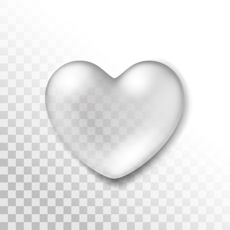 Vector Realistic Water Heart Drop Isolated on Transparent Background