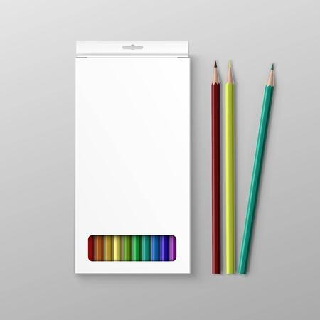 Illustrazione per Box of Colored Pencils Isolated on Background - Immagini Royalty Free