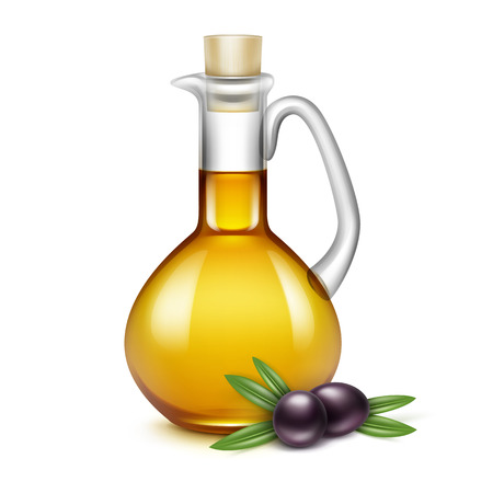 Ilustración de Olive Oil Glass Jug Pitcher Jar Bottle with Olives Branches on Leaves Isolated on White Background - Imagen libre de derechos