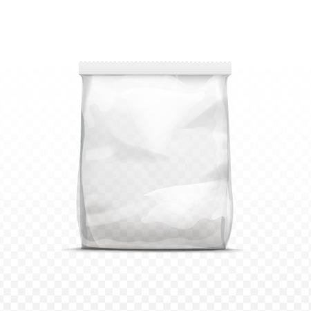 Ilustración de Vector White Vertical Sealed Empty Transparent Plastic Bag for Package Design  Close up Isolated on Transparent  Background - Imagen libre de derechos