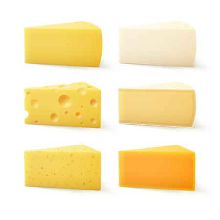 Ilustración de Vector Set of Triangular Pieces of Various Kind of Cheese Swiss Cheddar Bri Parmesan Camembert Close up Isolated on White Background - Imagen libre de derechos