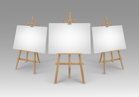 Illustration for Vector Set of Brown Sienna Wooden Easels with Mock Up Empty Blank Canvases Isolated on Background - Royalty Free Image