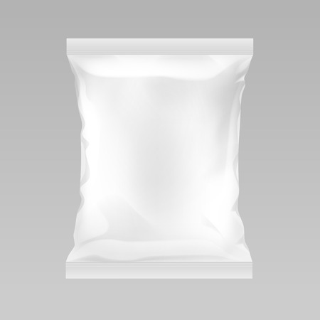 Illustration for Vector White Vertical Sealed Empty Plastic Foil Bag for Package Design with Smooth Edges Close up Isolated on Background - Royalty Free Image