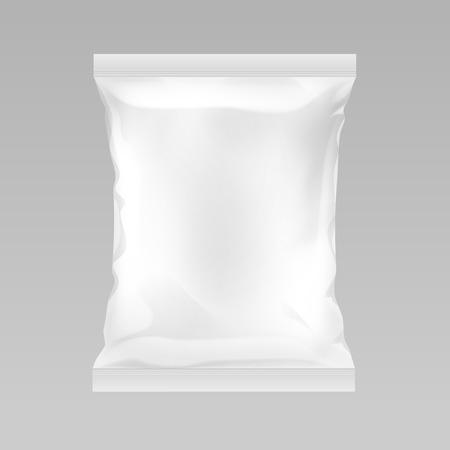 Ilustración de Vector White Vertical Sealed Empty Plastic Foil Bag for Package Design with Smooth Edges Close up Isolated on Background - Imagen libre de derechos