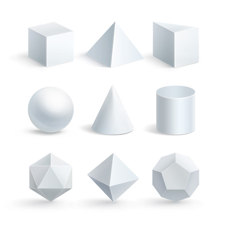Illustration for Vector illustration of realistic geometric shapes: cube, prism, cylinder, cone, sphere, pyramid or tetrahedron and octahedron, icosahedron, dodecahedron on white background - Royalty Free Image