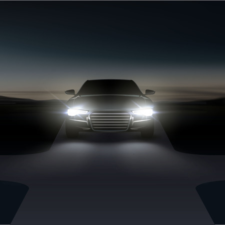 Illustration pour Vector illustration of car headlights on asphalt rural road with intersection at night before dawn in suburban - image libre de droit