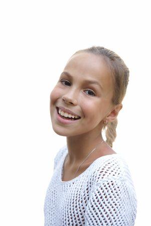 Cheerful preteen girl on white background
