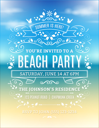 Illustration for Beach party invitation with white ornaments and ribbons on a blurry ocean background. - Royalty Free Image