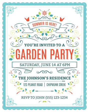 Ilustración de Vector garden party invitation with ornaments and ribbons. - Imagen libre de derechos