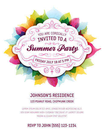 Ilustración de Summer party invitation with leaves and ornaments. Room for your own text at the bottom. - Imagen libre de derechos