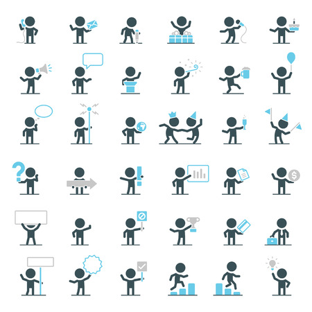 Illustration for Large set of vector characters in different situations. - Royalty Free Image