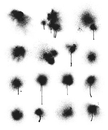 Illustration pour Collection of vector spray paint stains. Some of the stains have running paint. - image libre de droit