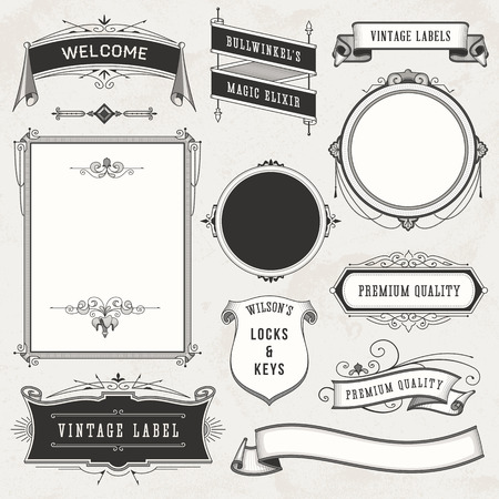 Illustration pour Collection of vintage labels, ornaments and ribbons. - image libre de droit