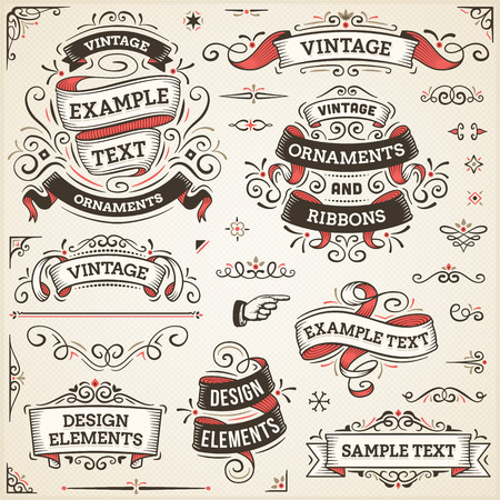 Illustration for Large set of vintage vector ornaments and ribbons. The fonts are called Arvo, Bebas Neue, Bitter and Cubano. - Royalty Free Image
